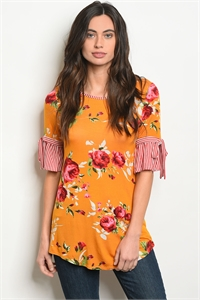 C36-B-2-T3165667 MUSTARD FLORAL TOP 2-2-2