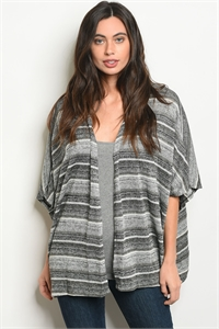 C89-A-2-C7117 GRAY IVORY STRIPES CARDIGAN 2-2-2