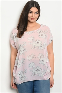 C96-A-7-T20633X PINK OFF WHITE PLUS SIZE TOP 2-2-2