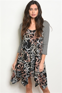 C42-A-2-D4016 BLACK MULTI STRIPES DRESS 2-2-2