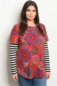 C41-B-2-T2035X RED MULTI STRIPES PLUS SIZE TOP 2-2-2