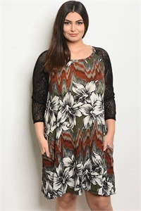 C56-A-7-D1024X OLIVE FLORAL PLUS SIZE DRESS 2-2-2