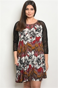 C60-A-2-D1024X BURGUNDY FLORAL PLUS SIZE DRESS 2-2-2