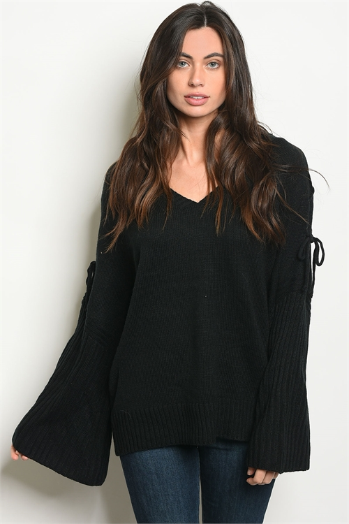 111-2-2-T121286 BLACK SWEATER 2-2-2