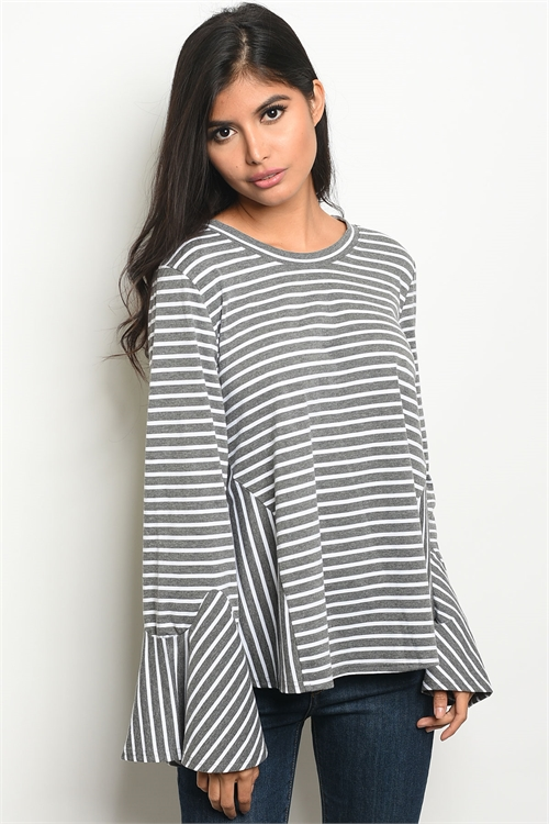 114-2-3-T24235 CHARCOAL STRIPES TOP 2-2-2