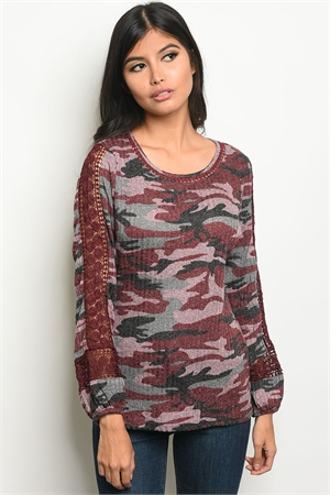 S18-11-6-T10160 BURGUNDY GRAY CAMOUFLAGE TOP 2-2-2