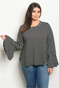 S20-2-3-T24235X BLACK STRIPES PLUS SIZE TOP 3-2-1