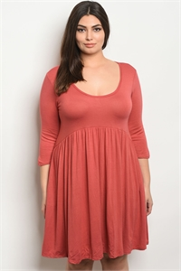 113-1-2-D5227X BRICK PLUS SIZE DRESS 2-2-2