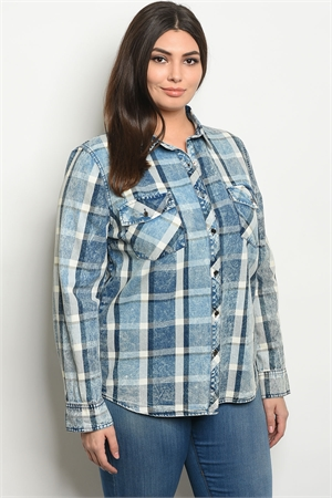 S13-11-1-T3755X BLUE CHECKERED PLUS SIZE TOP 2-2-2