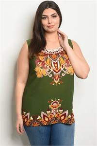 S18-12-3-T3728X GREEN MUSTARD PLUS SIZE TOP 2-2-2