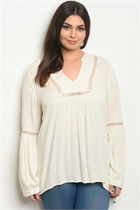 S18-5-1-T3469X CREAM PLUS SIZE TOP 2-2-2