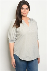 126-2-3-T38615X OLIVE IVORY STRIPES PLUS SIZE TOP 2-2-2