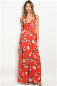 135-1-2-J2061 RED FLORAL JUMPSUIT 2-2-2
