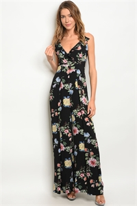 S15-9-5-J2061 BLACK FLORAL JUMPSUIT 2-2-2
