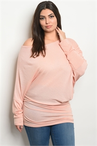 C89-A-6-T2026X PEACH PLUS SIZE TOP 2-2-2