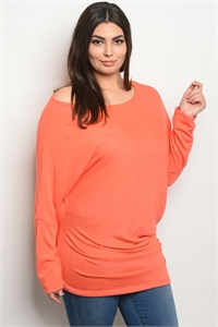 C81-A-3-T2026X CORAL PLUS SIZE TOP 2-2-2