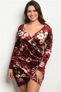 C55-A-4-D1401X BURGUNDY FLORAL PLUS SIZE DRESS 2-2-2