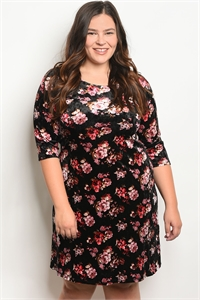 C63-A-4-D1318X BLACK FLORAL PLUS SIZE DRESS 2-2-2
