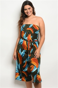 C54-A-5-J1710X MULTI COLOR PLUS SIZE JUMPSUIT 2-2-2
