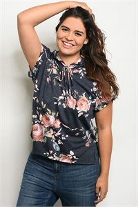 C51-B-2-T12056X CHARCOAL FLORAL PLUS SIZE TOP 2-2-2