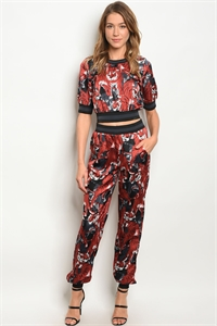S22-9-2-SET401793 EARTH TIGER PRINT TOP & PANTS SET 2-2-2