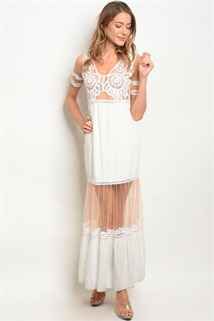 135-4-4-D5405 WHITE NUDE DRESS 2-2-2