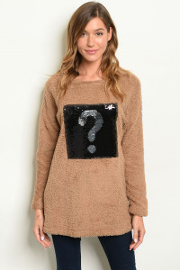 C15-B-5-S4290 TAUPE FLEECE SWEATER 2-2-2