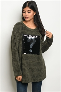 C15-B-5-S4290 OLIVE FLEECE SWEATER 2-2-2