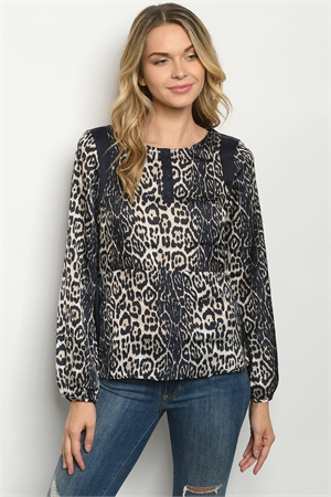 S21-3-2-T499 NAVY CHEETAH PRINT TOP 2-2-2