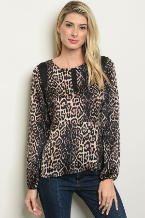 S21-1-1-T499 BLACK CHEETAH PRINT TOP 2-2-2