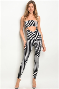 C94-A-6-SET30764 BLACK WHITE TOP & JUMPSUIT SET 3-2-1