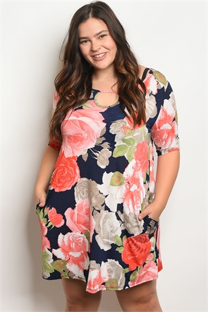 C101-A-7-D50093PX NAVY PEACH FLORAL PLUS SIZE DRESS 2-2-2