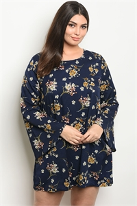 S9-13-4-D41879X NAVY FLORAL PLUS SIZE DRESS 3-2-1