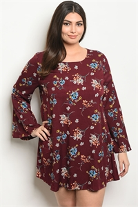 S9-13-4-D41879X WINE FLORAL PLUS SIZE DRESS 3-2-1