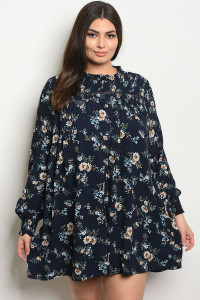 S9-12-2-D41832X NAVY FLORAL PLUS SIZE DRESS 3-2-1