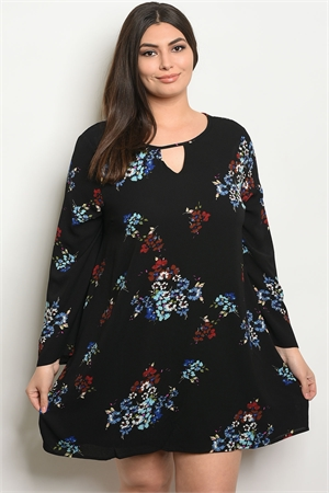 S9-13-5-D41818X BLACK FLORAL PLUS SIZE DRESS 3-2-1