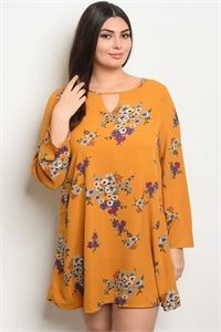 S9-13-5-D41818X MUSTARD FLORAL PLUS SIZE DRESS 3-2-1