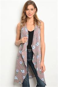 C45-A-2-C3935-2 BROWN WHITE FLORAL CARDIGAN 2-2-2