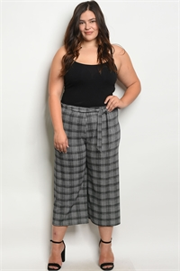 C24-A-7-P587X BLACK WHITE PLUS SIZE PANTS 2-2-2