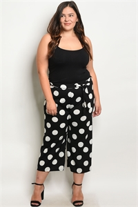C30-A-6-P587X BLACK W/ DOTS PLUS SIZE PANTS 2-2-2