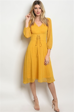 C88-A-6-D10017 MUSTARD WHITE POLKA DOTS DRESS 2-2-2