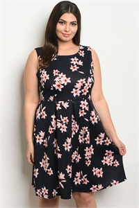 C102-A-2-D102143X NAVY FLORAL PLUS SIZE DRESS 2-2-2