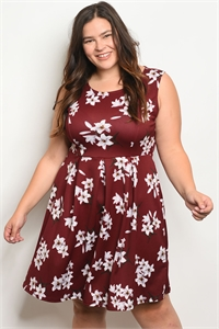 C102-A-2-D102143X BURGUNDY FLORAL PLUS SIZE DRESS 2-2-2