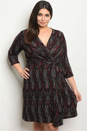 C101-A-7-D14037X BLACK MULTY PLUS SIZE DRESS 1-2-2-1