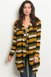 C24-A-7-T2835A MUSTARD NAVY CARDIGAN 2-2-2