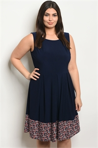 C99-A-7-D13268X NAVY WITH FLOWER PRINT PLUS SIZE DRESS 1-2-2-1