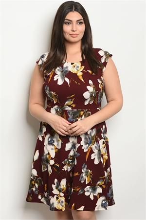 C97-A-4-D127783X BURGUNDY FLORAL PLUS SIZE DRESS 1-2-2-1