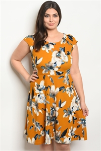 C93-A-6-D127783X MUSTARD FLORAL PLUS SIZE DRESS 1-2-2-1