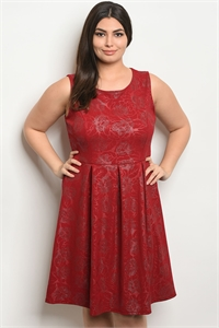C85-A-5-D1021413X RED SILVER PLUS SIZE DRESS 2-2-2