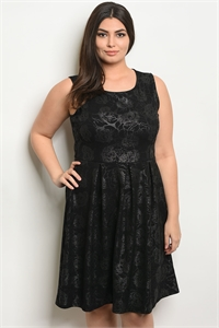 C85-A-5-D1021413X BLACK SILVER PLUS SIZE DRESS 2-2-2